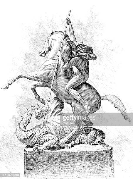 ilustraciones, imágenes clip art, dibujos animados e iconos de stock de de san jorge y el dragón-ilustración victoriano - caballo familia del caballo