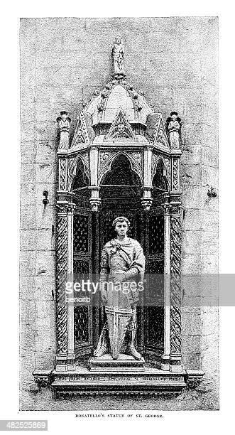 ilustrações de stock, clip art, desenhos animados e ícones de estátua de st. george - nicho