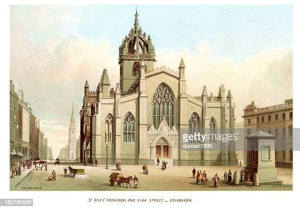 st giles cathedral and high street edinburgh - st giles' cathedral stock illustrations, clip art, cartoons, & icons