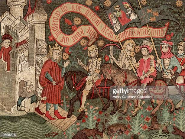 St Joan of Arc , known as the Maid of Orleans arrives at Chinon Castle to meet the dauphin during the Hundred Years' War,6th March 1429. Her inner...