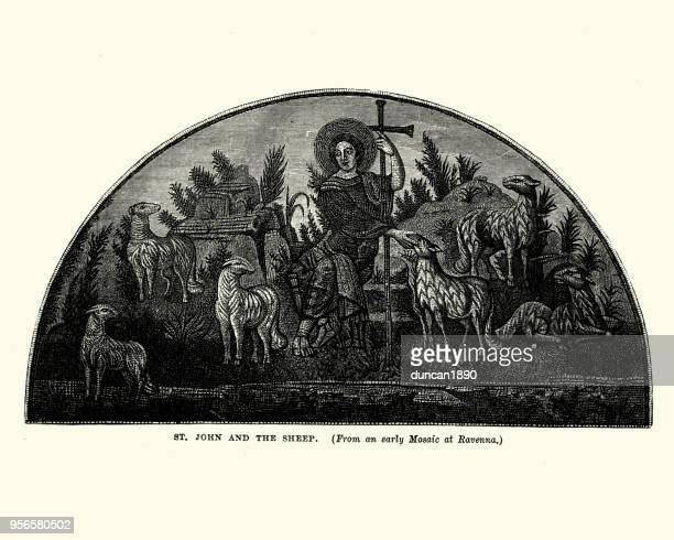 ilustraciones, imágenes clip art, dibujos animados e iconos de stock de san juan y las ovejas - san juan bautista