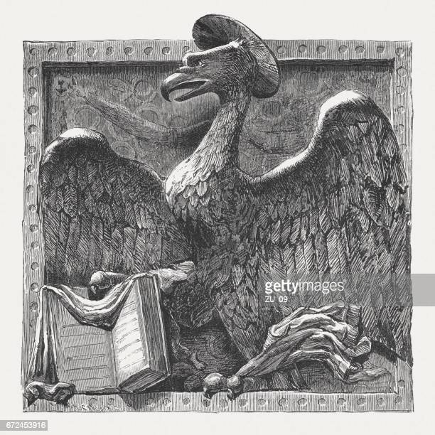 st. john as an eagle, sculpted by donatello, padua, italy - bas relief stock illustrations