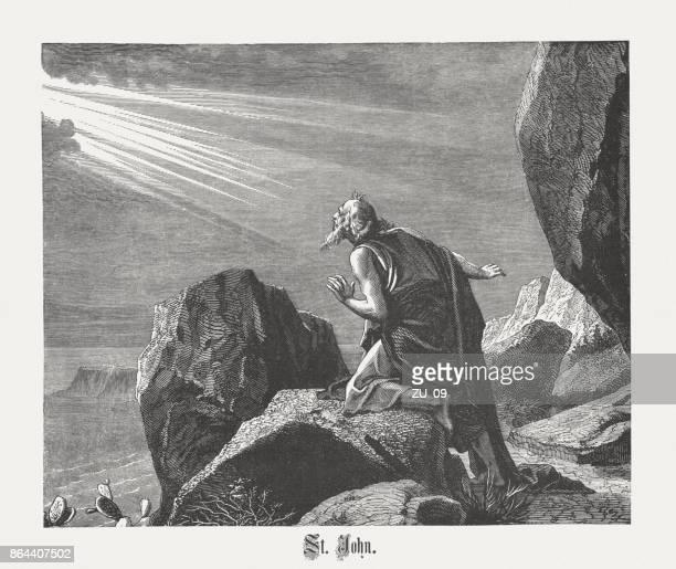 木の彫刻、パトモス島の聖ヨハネが 1886 年に出版 - 使徒点のイラスト素材/クリップアート素材/マンガ素材/アイコン素材