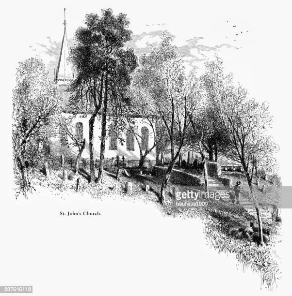 st. john's church, richmond, virginia, united states, american victorian engraving, 1872 - spire stock illustrations, clip art, cartoons, & icons