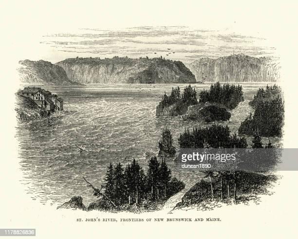 セントジョンズ川、ニューブランズウィック州とメイン州のフロンティア、19世紀 - ニュージャージー州ニューブランズウィック点のイラスト素材/クリップアート素材/マンガ素材/アイコン素材