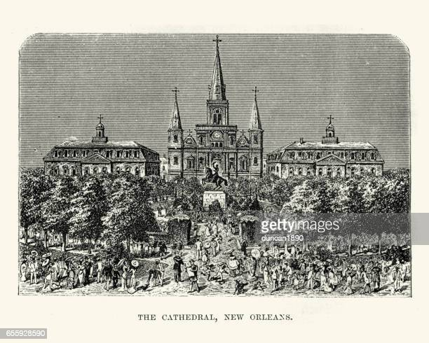 st louis cathedral new orleans 19th century - new orleans stock illustrations, clip art, cartoons, & icons