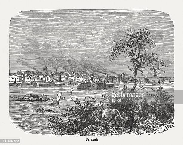 St. Louis on the Mississippi River, wood engraving, published 1880