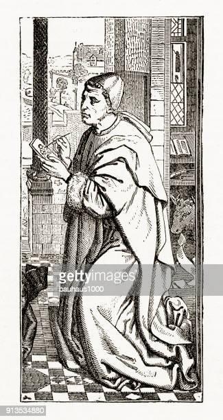 St. Luke schilderij van het portret van Maagd Maria gravure