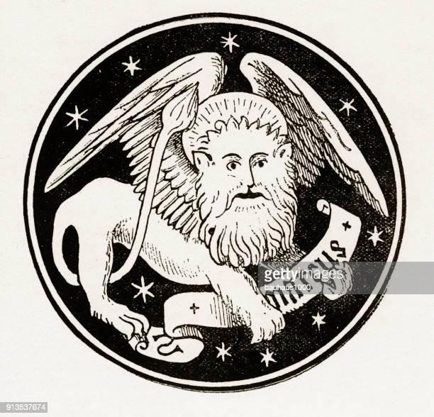 St. Mark de Leeuw christelijke symboliek gravure