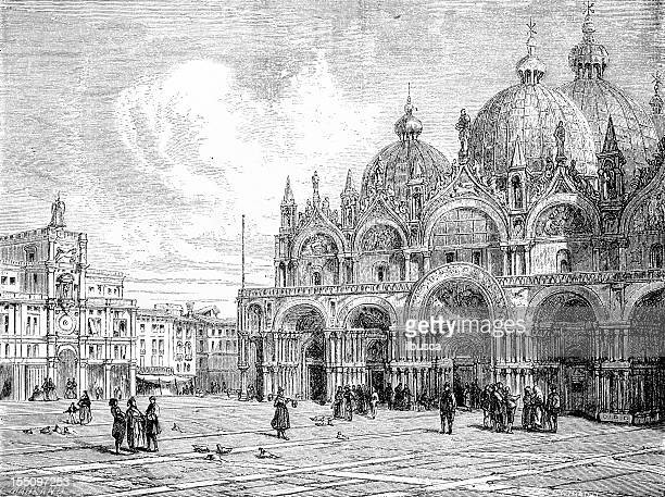 st mark's basilica in venice - venice italy stock illustrations, clip art, cartoons, & icons