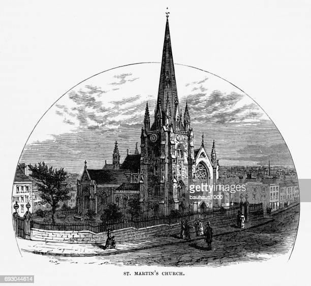 St. Marten's Church, Birmingham, Midlands, England Victorian Engraving, 1840