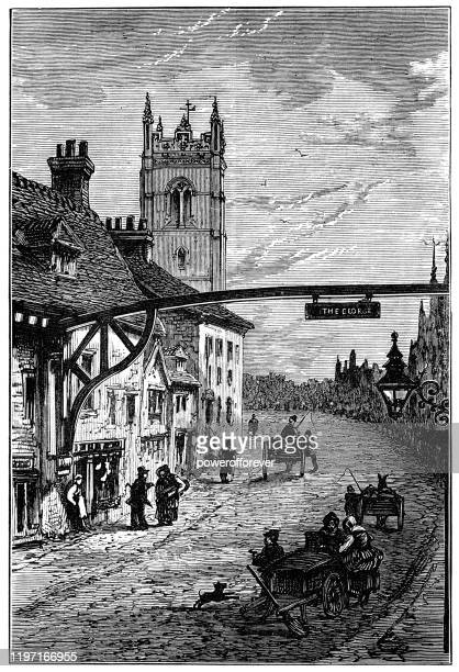 st martin's church at the town of stamford in lincolnshire, england - 19th century - old town stock illustrations