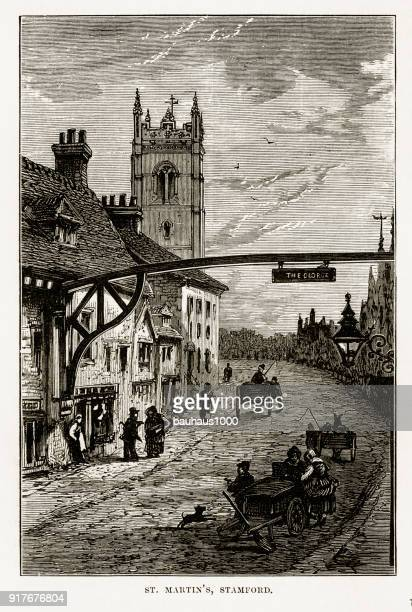 st. martin's church, in stamford, england landmarks victorian engraving, 1840 - spire stock illustrations, clip art, cartoons, & icons