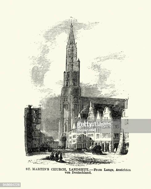 st martin's church, landshut, bavaria, germany, 19th century - spire stock illustrations, clip art, cartoons, & icons