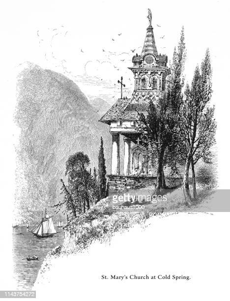 st. mary's church at cold spring on the hudson river, new york, united states, american victorian engraving, 1872 - spire stock illustrations, clip art, cartoons, & icons