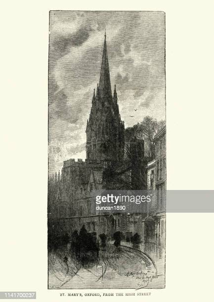 st mary's church, oxford, from high street. 19th century - spire stock illustrations, clip art, cartoons, & icons