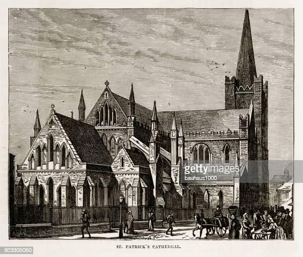 st. patrick's cathedral in dublin, ireland victorian engraving, 1840 - spire stock illustrations, clip art, cartoons, & icons