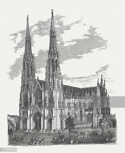 st. patrick's cathedral, manhatten, new york city, published in 1880 - st. patrick's cathedral manhattan stock illustrations, clip art, cartoons, & icons