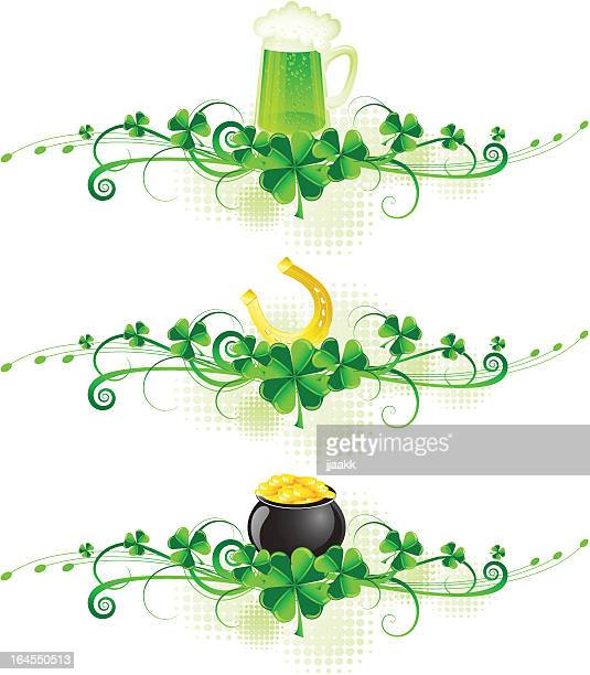st. patrick's design elements - celtic music stock illustrations, clip art, cartoons, & icons
