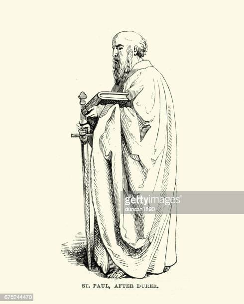 st paul holding sword and bible - paul the apostle stock illustrations