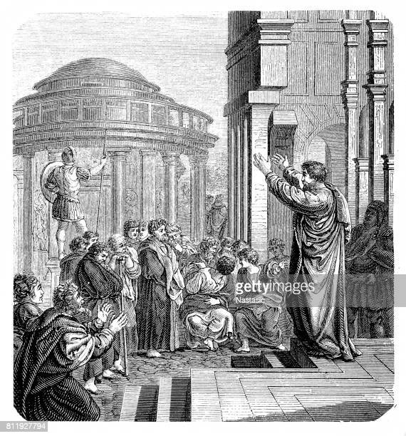 st paul in athens - paul the apostle stock illustrations