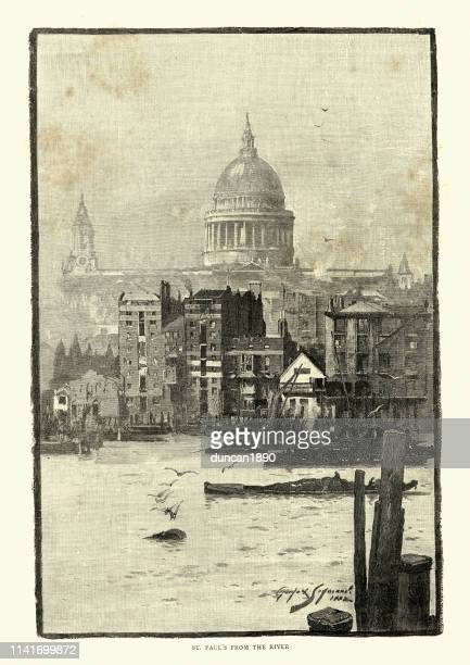 st. paul's cathedral from river thames, 19th century london - st. paul's cathedral london stock illustrations
