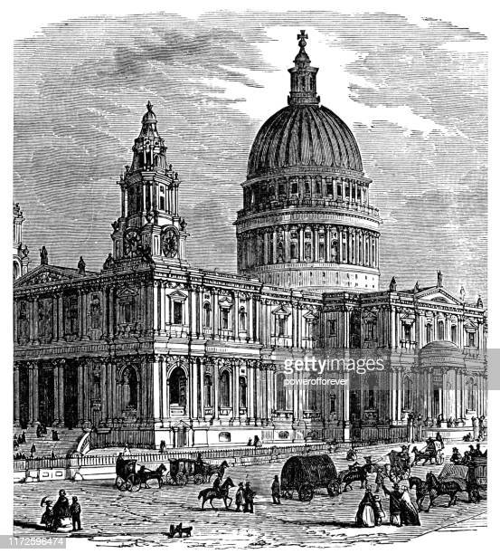 st paul's cathedral in london, england - 19th century - anglican stock illustrations