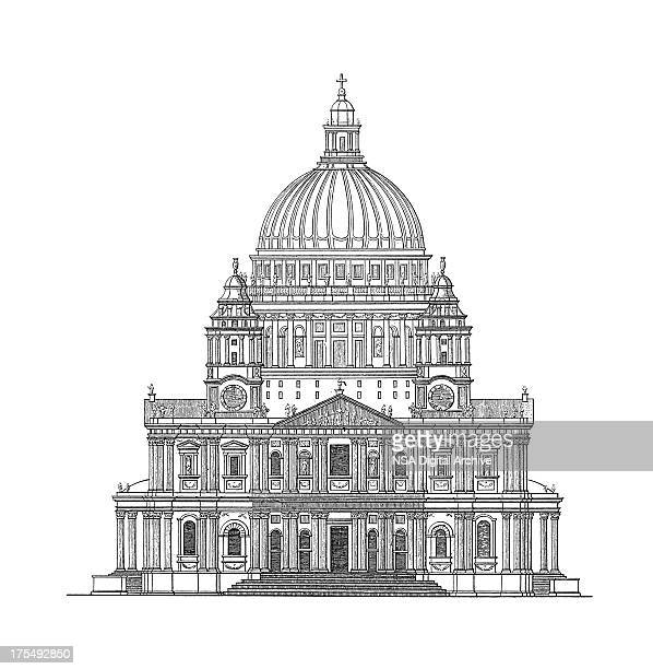st paul's cathedral, london, united kingdom | antique architectural illustrations - architectural dome stock illustrations, clip art, cartoons, & icons