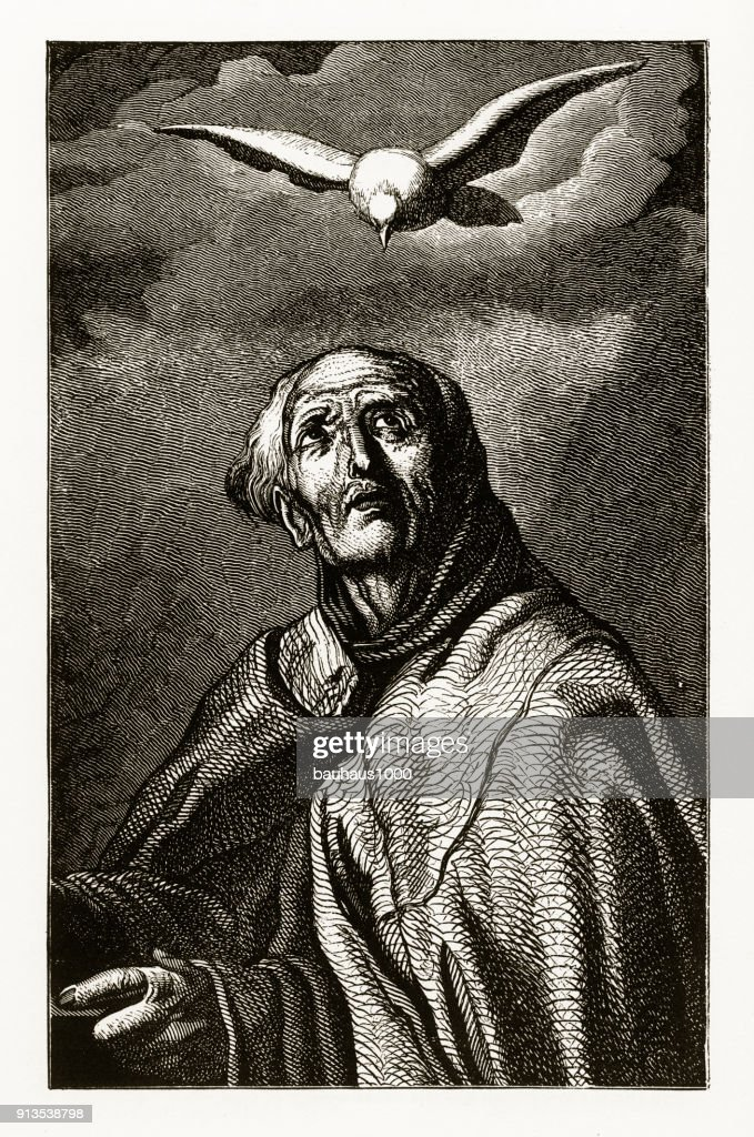 St Peter Of Alcantara With A Dove Christian Symbolism Engraving