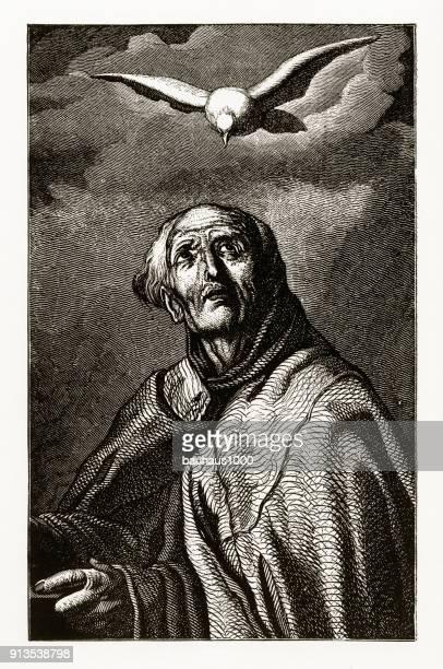 St. Peter van Alcantara met een Dove christelijke symboliek gravure