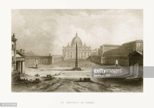 ilustrações de stock, clip art, desenhos animados e ícones de st. peter's basilica, vatican, italy victorian engraving, circa 1865 - st. peter's basilica the vatican