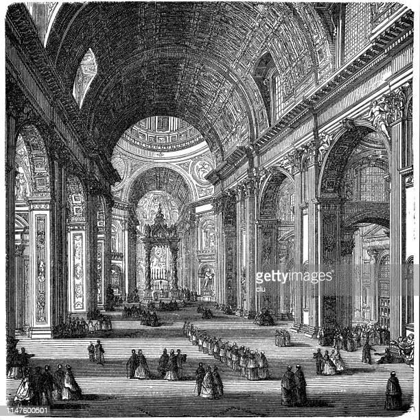 ilustrações de stock, clip art, desenhos animados e ícones de st. peter's church in rome, indoor - st. peter's basilica the vatican