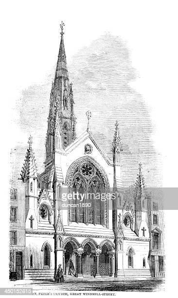 st peter's church, london - spire stock illustrations, clip art, cartoons, & icons
