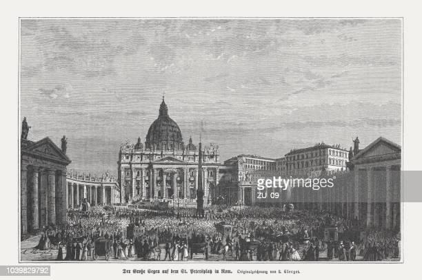 St. Peter's Square, Vatican, wood engraving, published in 1876