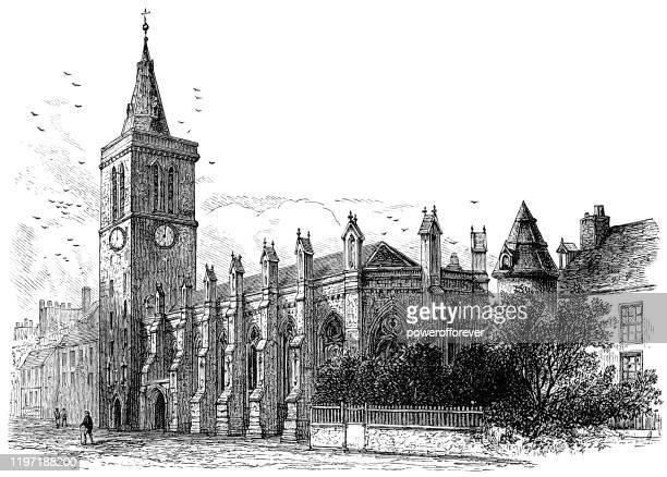 st salvator's chapel in st andrews, scotland - 19th century - st. andrews scotland stock illustrations