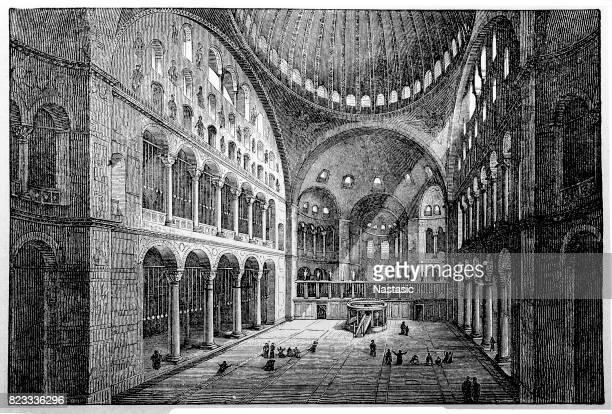 stockillustraties, clipart, cartoons en iconen met st. sophia church interieur - ottomane