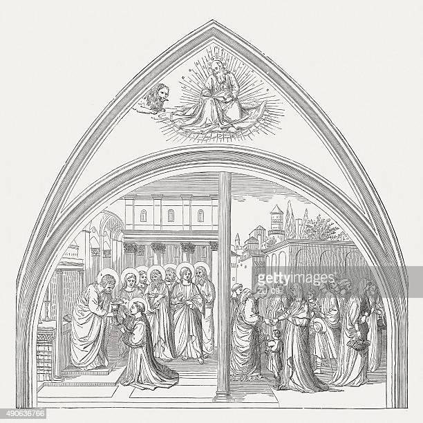 ilustrações de stock, clip art, desenhos animados e ícones de st stephen, pintado por fra angélico (vaticano), publicado em 1878 - st. peter's basilica the vatican