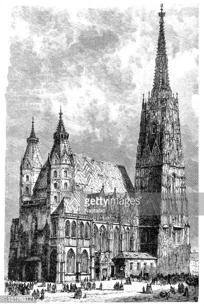 st. stephen's cathedral in vienna - stehen stock illustrations