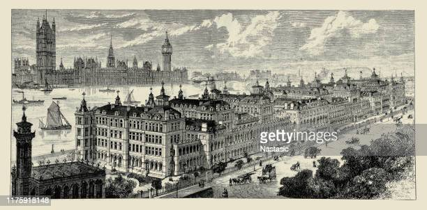 st. thomas's hospital, london, exterior bird's-eye view from south - 20th century stock illustrations