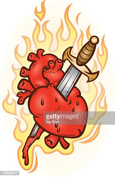 stabbed heart - animal heart stock illustrations, clip art, cartoons, & icons