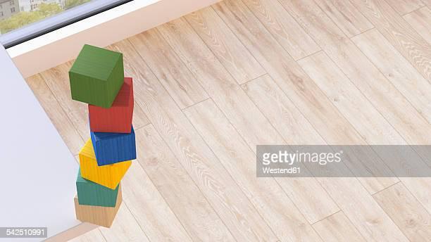Stack of building blocks at corner of tabletop