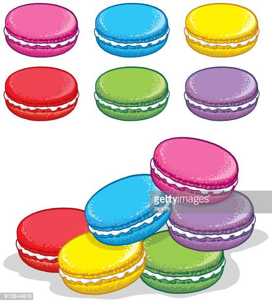 stack of colorful macaron - macaroon stock illustrations, clip art, cartoons, & icons