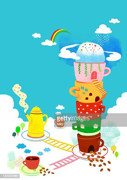 stack of cup, kettle and ladder - monsoon stock illustrations, clip art, cartoons, & icons