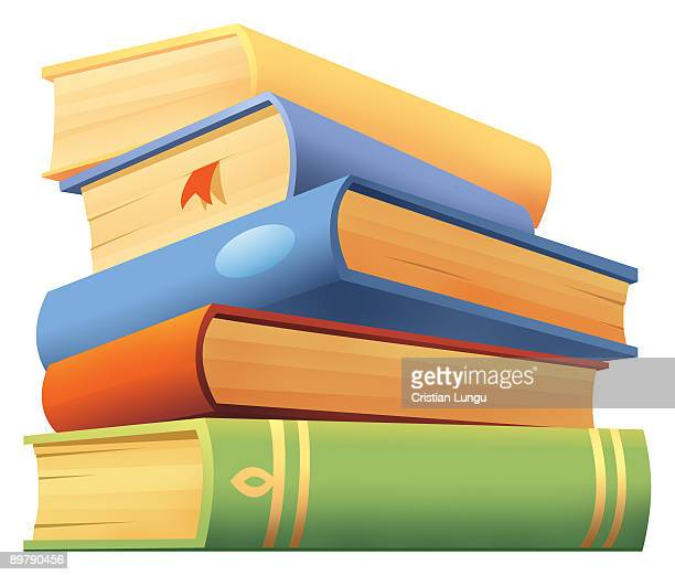 stack of five books in different colors - stack stock illustrations
