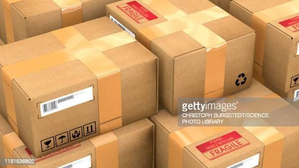 stack of parcels, illustration - writing stock illustrations
