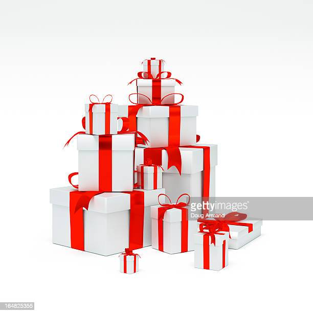 A stack of Silver present boxes with red ribbon