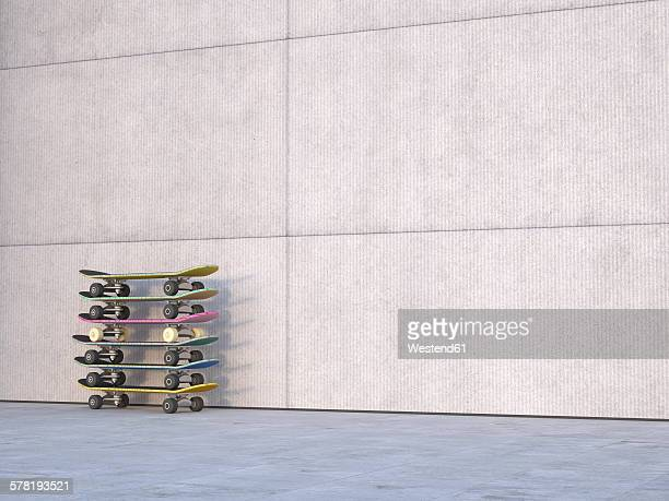 stack of skateboards in front of concrete wall, 3d rendering - concrete wall stock illustrations, clip art, cartoons, & icons