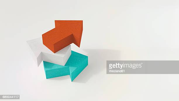 stack of three arrows, 3d rendering - contrasts stock illustrations