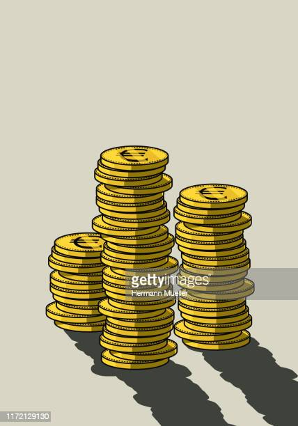 stacks of euro coins - growth stock illustrations