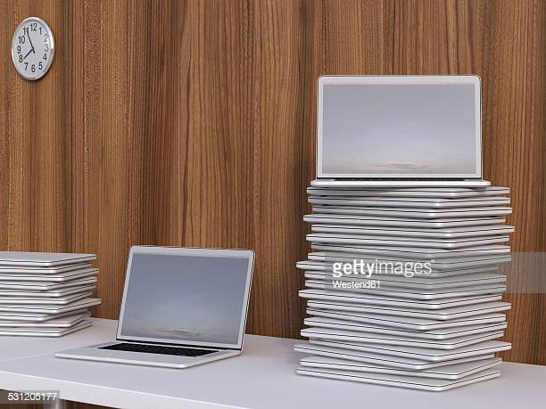 stacks of laptops on a table in front of wooden wall, 3d rendering - stack stock illustrations